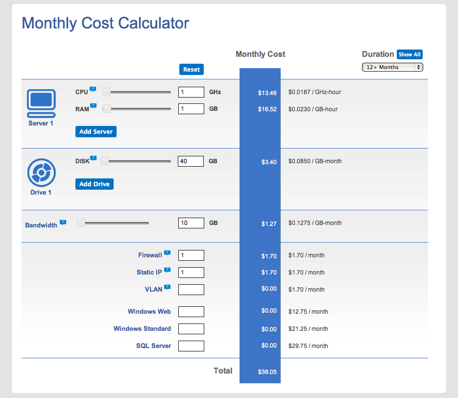 Open Hosting Calculator